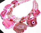 Pink agate statement vintage sugar beads necklace
