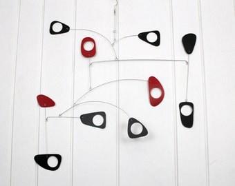 Mobile, Black and Red Mobile, Mid Century Modern Mobile, Kinetic Art, Modern Mobile, Home Decor, Office Gift, Housewarming Gift