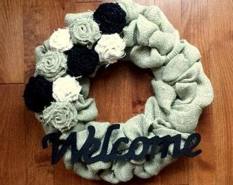 "Burlap Wreath, Front Door Wreath, Burlap Wreath with Burlap Flowers, Pale Sage Green, Black, Cream, approximately 14"""