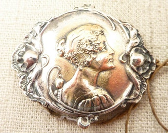 Antique Shiebler Sterling and 14K Gold Art Nouveau Maiden Buckle Two-Part