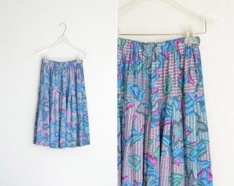 vintage '80s ABSTRACT PRINT PLEATED skirt. size s m.
