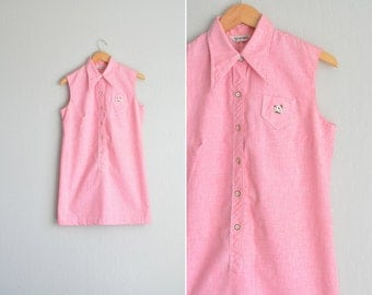 SALE / vintage '60s/'70s BUBBLEGUM pink sleeveless mini SCOOTER shirtdress. size l.