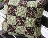 Primitive Christmas Pillow Cover 14-Inch Winter Chickadees and Checkers