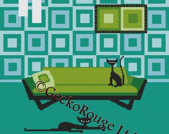 Cat Cross Stitch Kit By Kerry Beary Retro Cat Needle Craft Pattern with DMC Materials Kerry Beary
