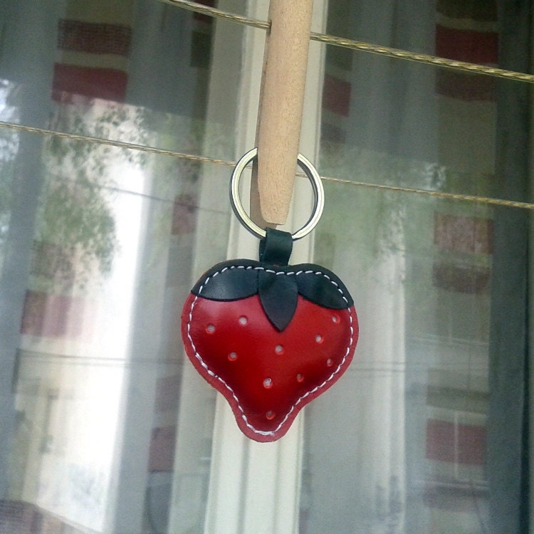 Cute Little Red Strawberry Handmade Leather Keychain FREE