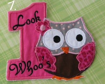 Applique number one with owl
