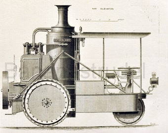 1871 Antique Engineering Print - Farm Steamer - Vintage Print - Gift for Him