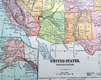Antique Map of the Western United States -- 1896 Vintage Map