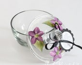 Sugar bowl that is hand painted in a floral purple daisy design- Dishwasher safe.