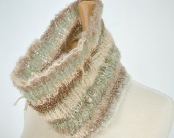 Knit Cowl Scarf, Designer Yarn, Soft Green, Cream and Taupe