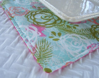 Fabric Placemats - Set of 2 - Modern Flowers - OOAK Pink Polka Dots Yellow Green Cloth Placemat