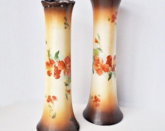 Pair of Tall Brown Hand Painted Floral Vases - 1940s - Glorieux Pottery Queen