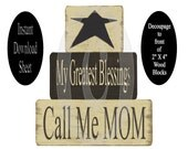 Download Decoupage Sheet Block Fronts Printable Craft DIY Project Star MOM Prim Primitive Cottage Chic Wooden Chunkie Stacking blessings
