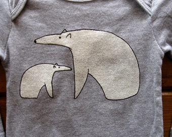 Polar Bears One Piece Babies and Children 6 months to 12 years Heather Grey