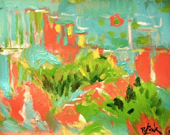 Tropical Abstract Painting  Contemporary Art Red Green Expressionist Painting Russ Potak
