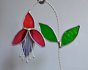 Fuchsia  Stained Glass Suncatcher