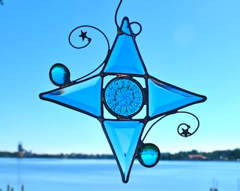 Winter Blues Jewel Star Stained Glass Suncatcher