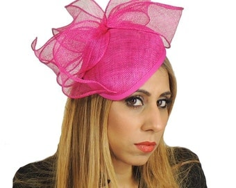 Fuchsia Gin & Tonic Fascinator  Hat for Weddings, Occasions and Parties With Headband