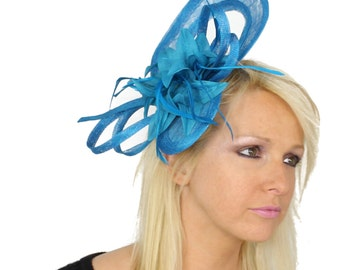 Cape - Dark Turquoise Fascinator Hat for Kentucky Derby, Weddings and Parties with Headband
