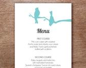 Turquoise Lovebirds Printable Menu Template