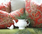 BOTH SIDES--Decorative Designer Pillow Cover-- Red Paisley Throw Pillow-Linen- Red- Green-Mustard Gold