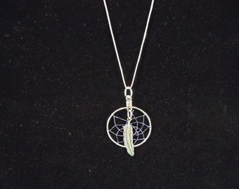 """18"""" Sterling Silver Purple Dream Catcher Necklace Native American Made"""