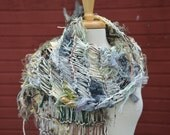 SALE Fringed Shawl - Dumpster Diva 'Light Herbgrass' with cream boucle - Fringed Wide Knit Shawl for women - cream, sage, green, tan, gold,