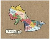 Cambridge, MA Neighborhood Map - Original Cut Paper Print FREE SHIPPING