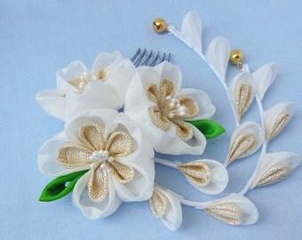 Mini Gold Metallic Sakura, Cherry Blossom, Hair Accessory, Hair Comb, Bridal, Bride,Bright Days Tsumami Kanzashi Silk Hair Comb
