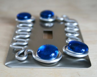 Single Switch Plate Cover/Brushed Nickel/Blue Glass/Decorative Switch Plates/Funktini/ Unique Home Decor Lighting/Funktini Lighting Covers