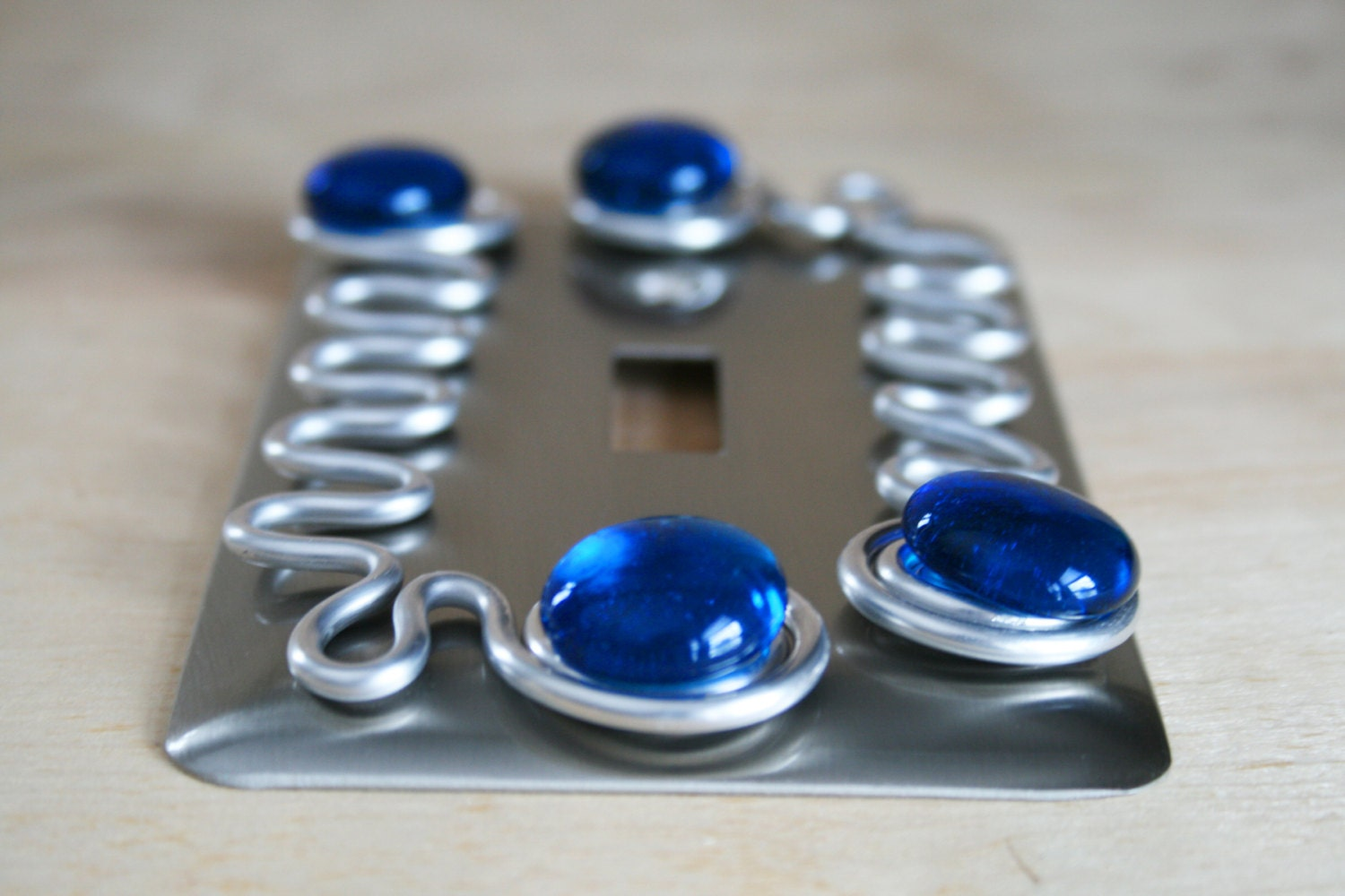 Single switch plate cover brushed nickel blue glass decorative for Unique switches