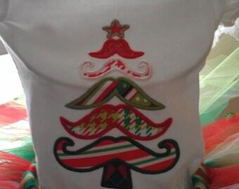 Christmas Mustache Shirt and Tutu