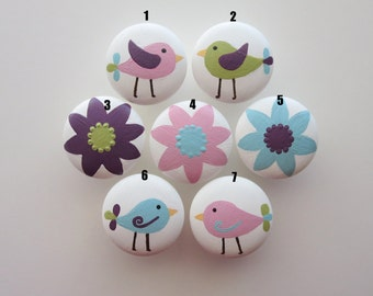 Set of 4-Birds and Flowers Drawer Knobs-Mix and Match-You choose which designs