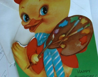 Vintage 1950s Kitsch Adorable  Unused Happy Birthday Card Chick