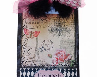 Pink in Paris Clipboard Decorative Personalized