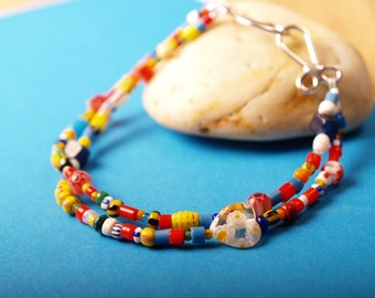 Double strand bracelet of African Christmas beads
