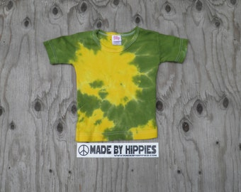 Yellow and Green Spiral Tie Dye T-Shirt (iDesign Size 2T) (One of a Kind)