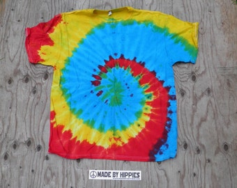 Blue, Red and Yellow Spiral Tie Dye T-Shirt (Fruit of the Loom Size XL) (One of a Kind)