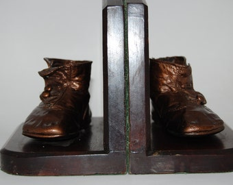 Vintage Bronzed Baby shoes Bookends on wood with Green felt lining