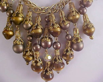 REDUCED~VICTORIAN Style ~ TIGERS Eye ~Simulated Brown Pearls~Crystal Festoon Necklace
