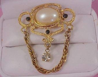 Victorian Style Simulated Pearl~Diamante & Black Cabochon Dangle Brooch