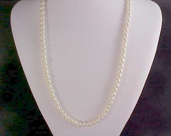 1940's Faux STRING of PEARLS~ Gilt Gold Filigree Safety Clasp