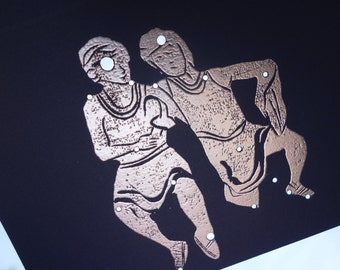 Gemini, the Twins May June Birthday Shadow Zodiac Constellations with Greek Illustrations *Hand Embossed & Hammered Greeting Art Card