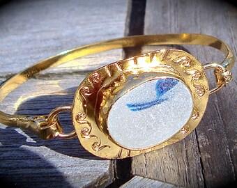 Sea Glass Gold Vermeil Bangle