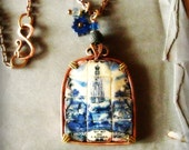 Our Lady Of Fatima Portuguese tile pendant artisan copper necklace