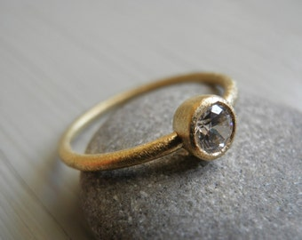 Engagement Ring, Stacking Ring, Vintage Inspired Classic Clear Swarovski CZ Ring, 18K gold Ring, Statement Ring