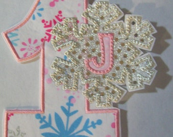 Iron On Applique - SnowFlake Birthday with Monogram  Ships in 3-7 Business Days