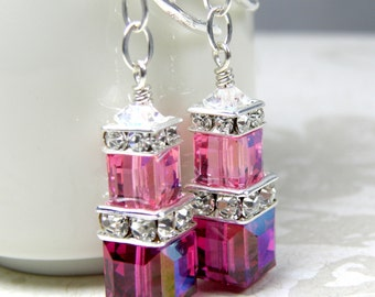 Ruby and Pink Earrings, Fuchsia, Rose Swarovski Cube, Stacked Crystal, Sterling Silver, Bridesmaid Wedding Jewelry, July Birthday Birthstone