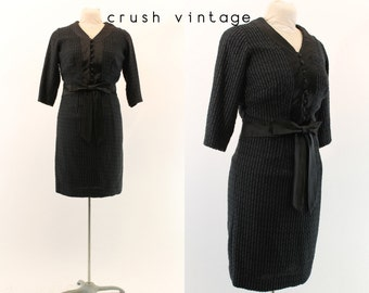 60s Cotton Lattice Dress M / 1960s Satin Bow Dress /  Midnight Hour Dress