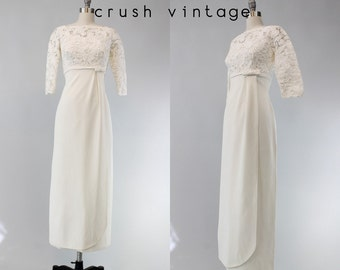 60s Ranshoffs Wedding Dress XS / 1960s Guipure Lace Crepe Dress /  Gamine White Bridal Gown